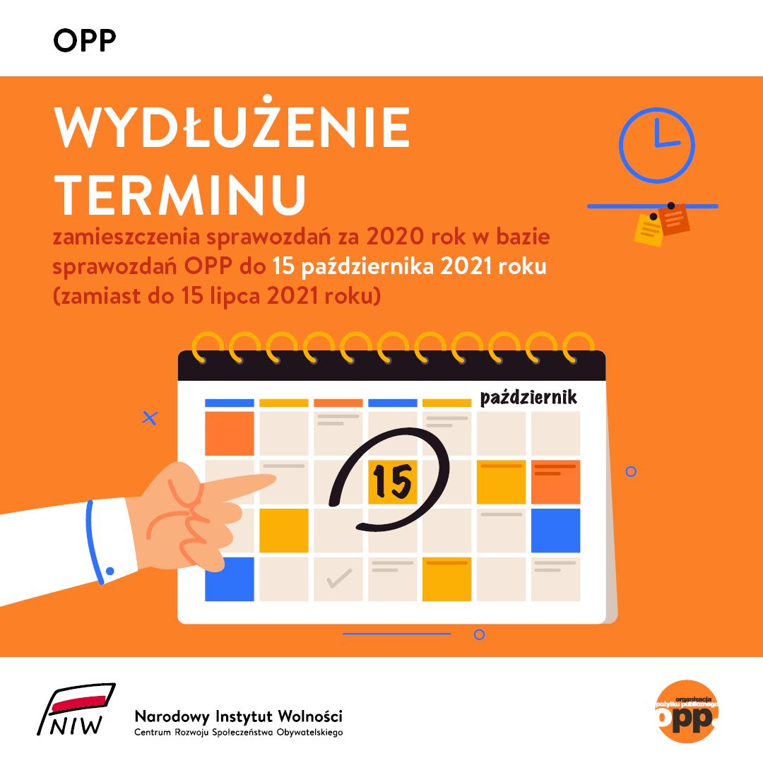 Wydłużony termin zamieszczenia sprawozdań za 2020 rok w bazie sprawozdań OPP
