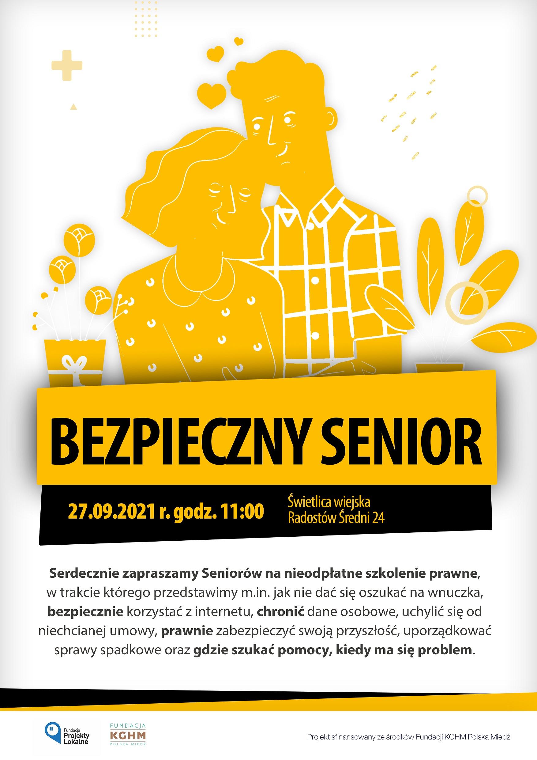 BEZPIECZNY SENIOR – Serdecznie zapraszamy Seniorów na nieodpłatne szkolenie prawne.